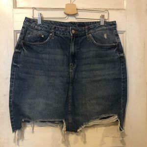 NWOT High Waisted Distressed Denim Skirt